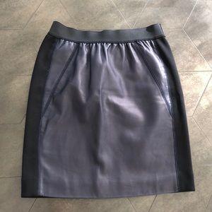 Sandro Navy/Black Leather Skirt